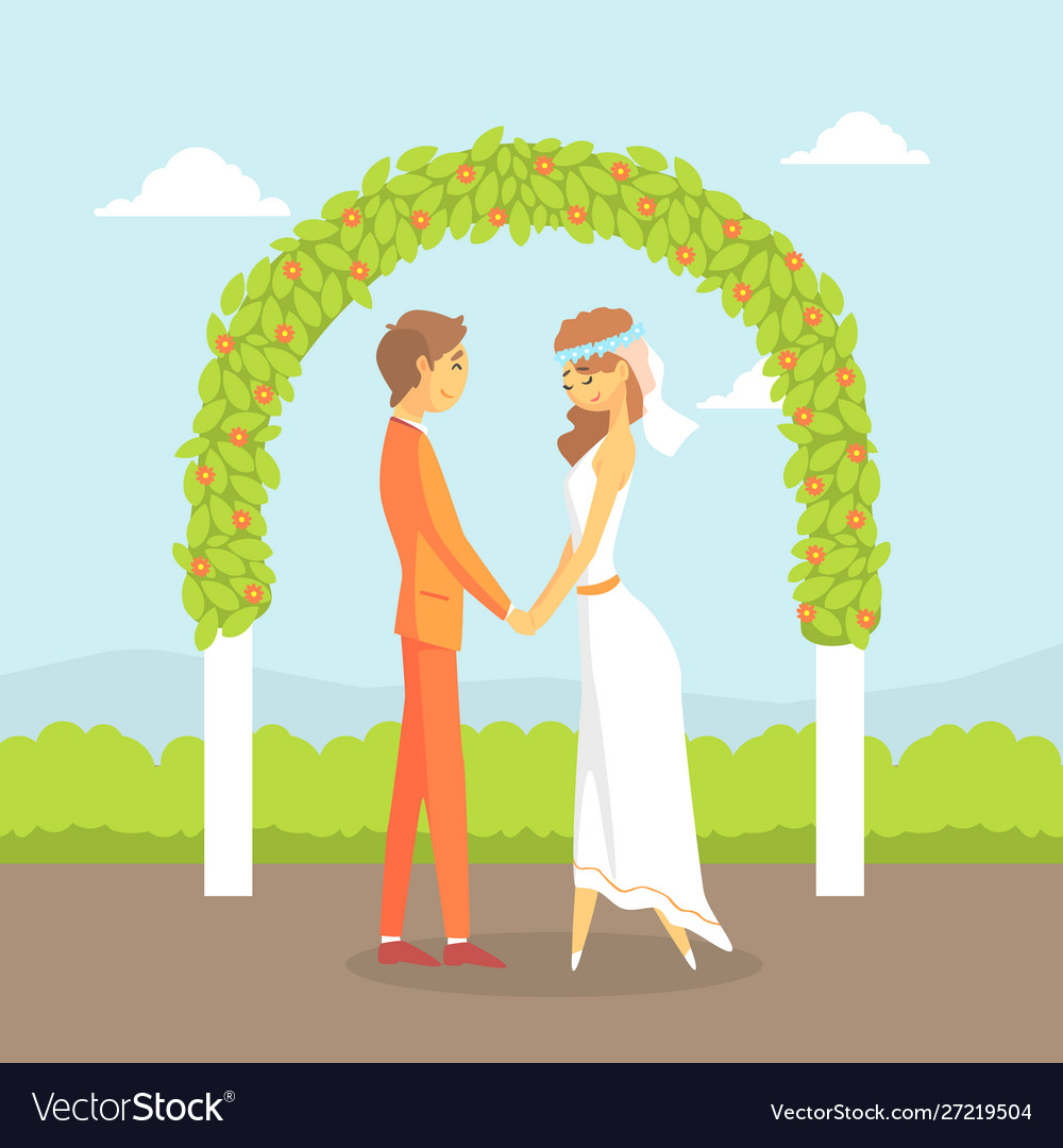 Wedding ceremony happy couple newlyweds