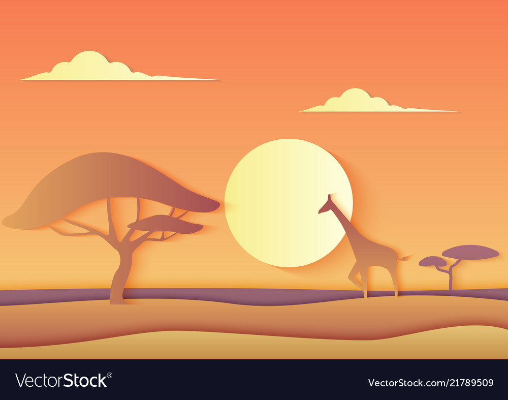 African trendy paper cuted landscape with a