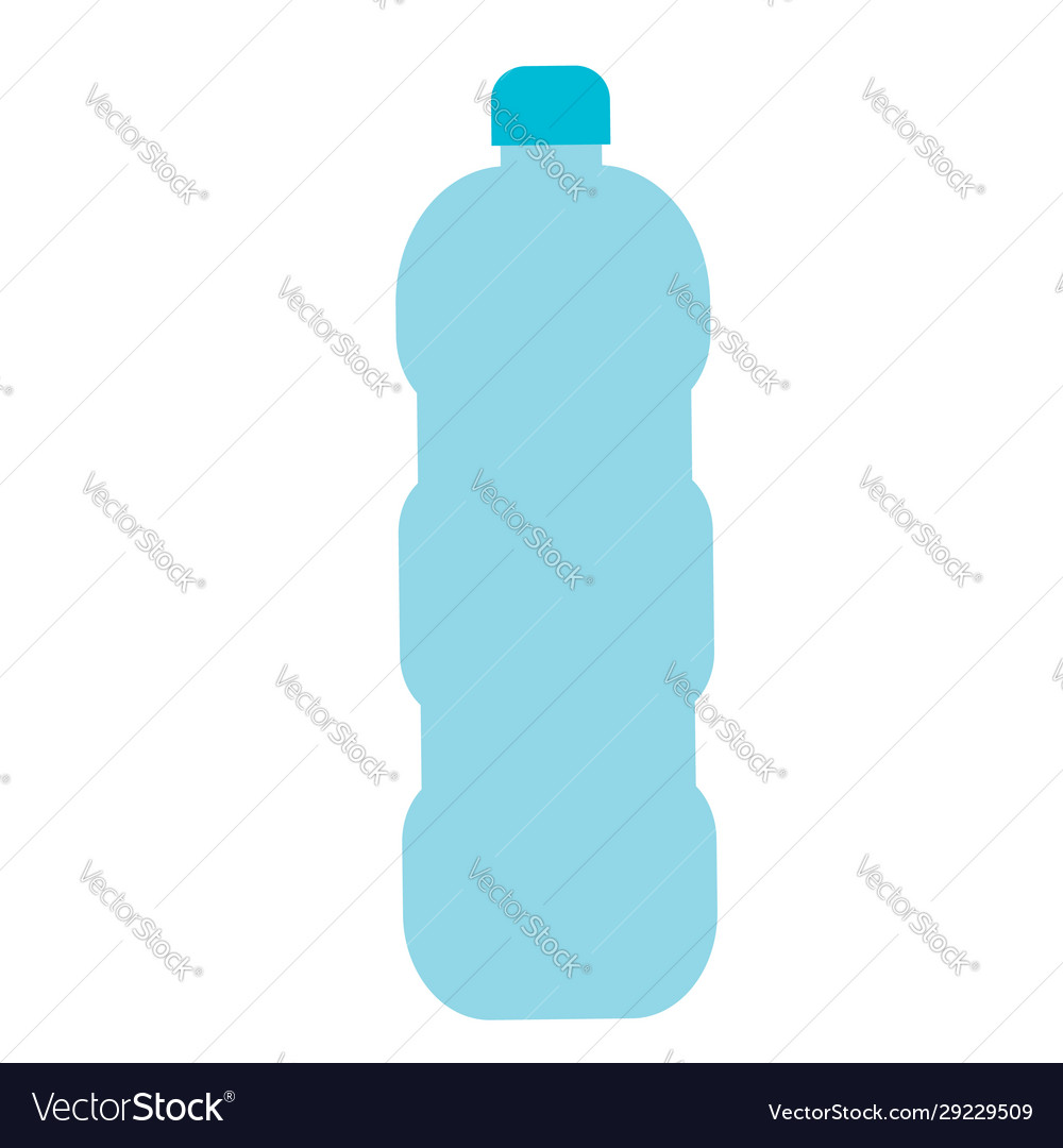 Blue plastic bottle icon in flat design isolated