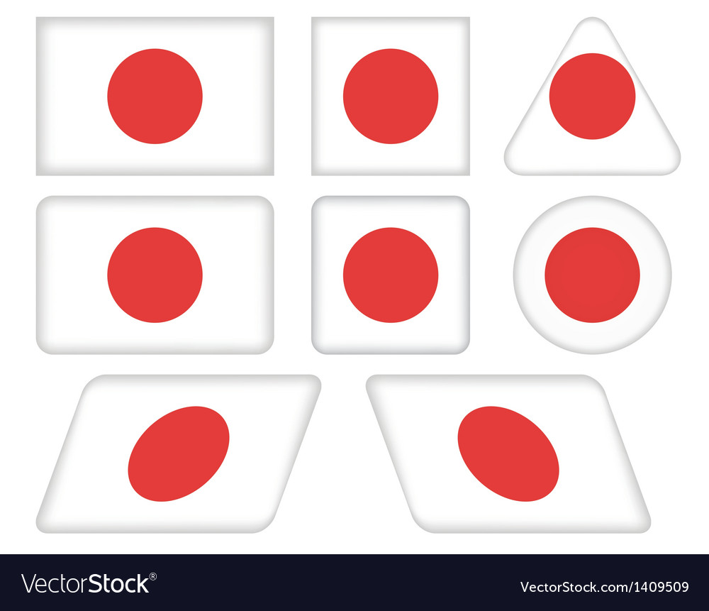 Buttons with flag of Japan vector image