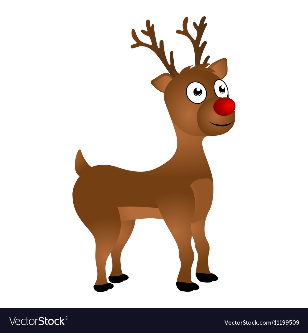 Cheerful Cartoon Reindeer On A White Background Vector Image