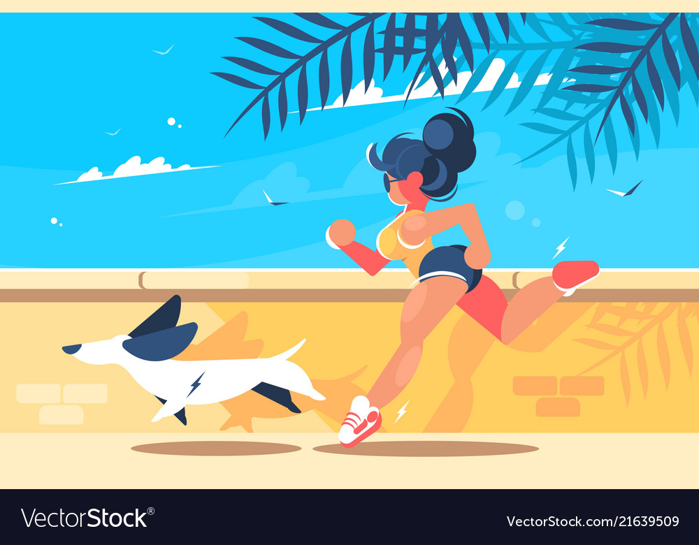 Girl with dog running