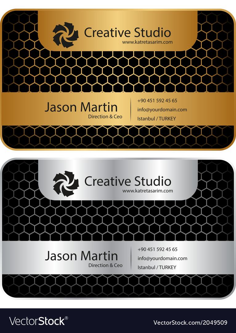 Golden silver honeycomb business card royalty free vector golden silver honeycomb business card vector image reheart Images