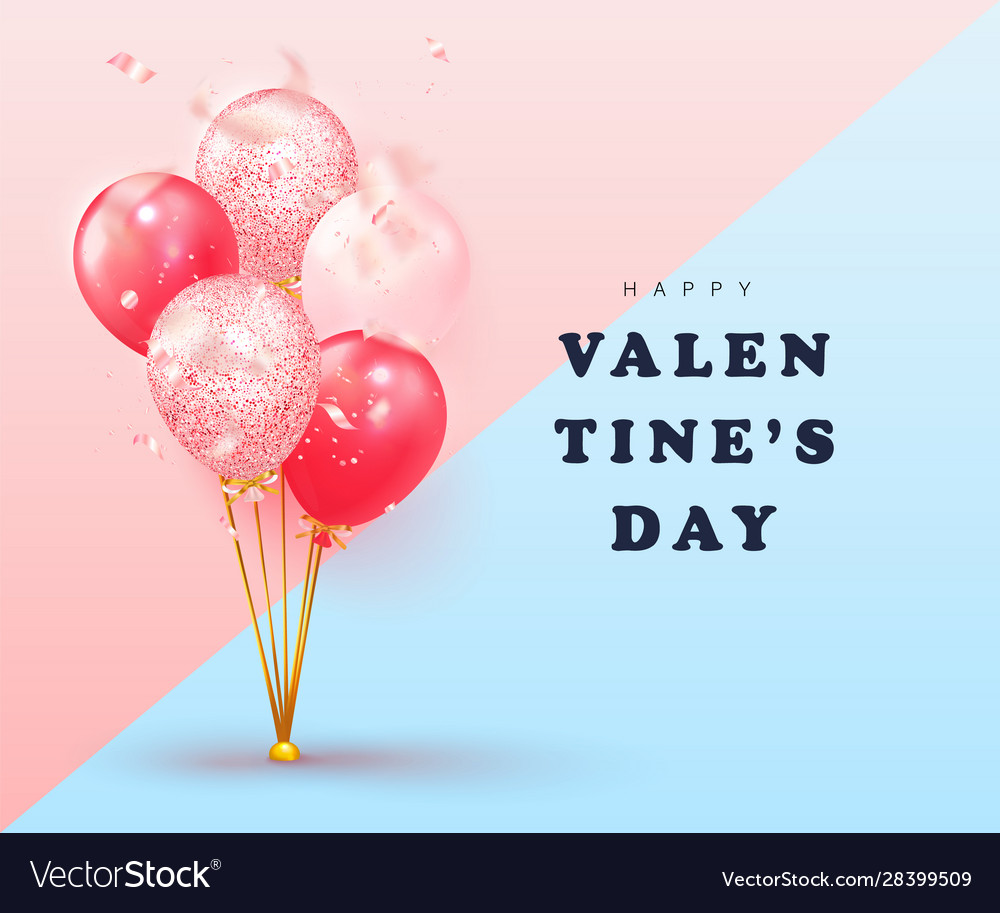 Happy valentines day card design with balloons and