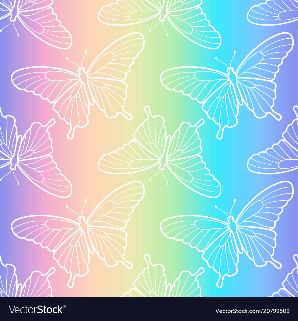 Holographic butterfly seamless pattern
