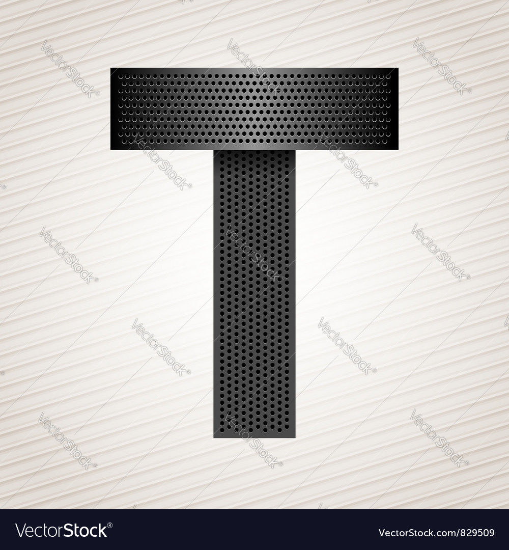 Letter metal ribbon - T vector image