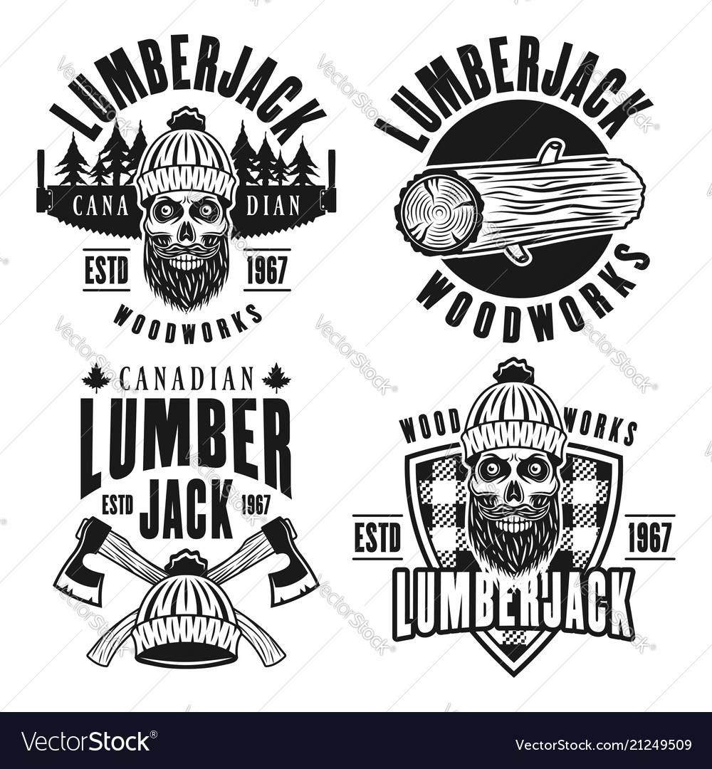 Lumberjack set of black vintage emblems