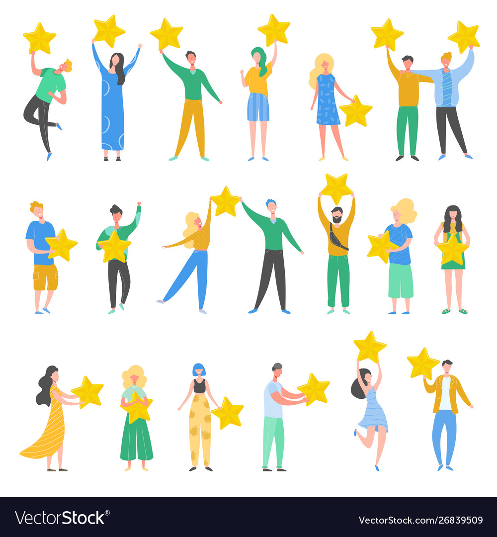 People characters holding gold stars
