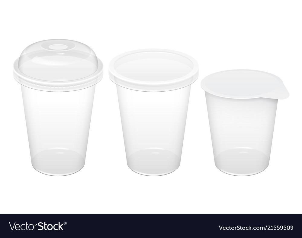 Realistic transparent disposable plastic cup