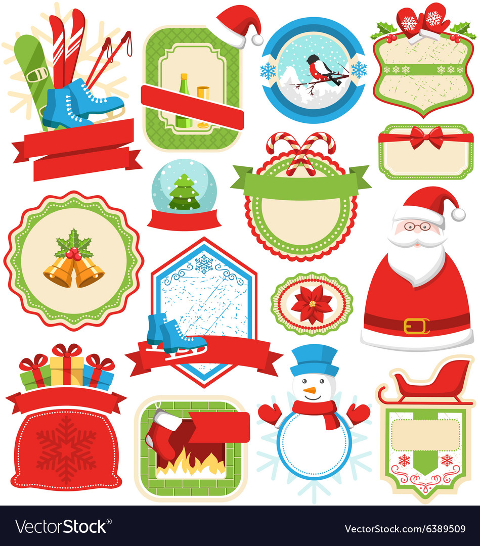 Set of Christmas Winter Lables Icons Flat