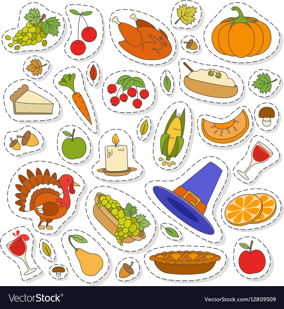 Set of Cute Thanksgiving icons