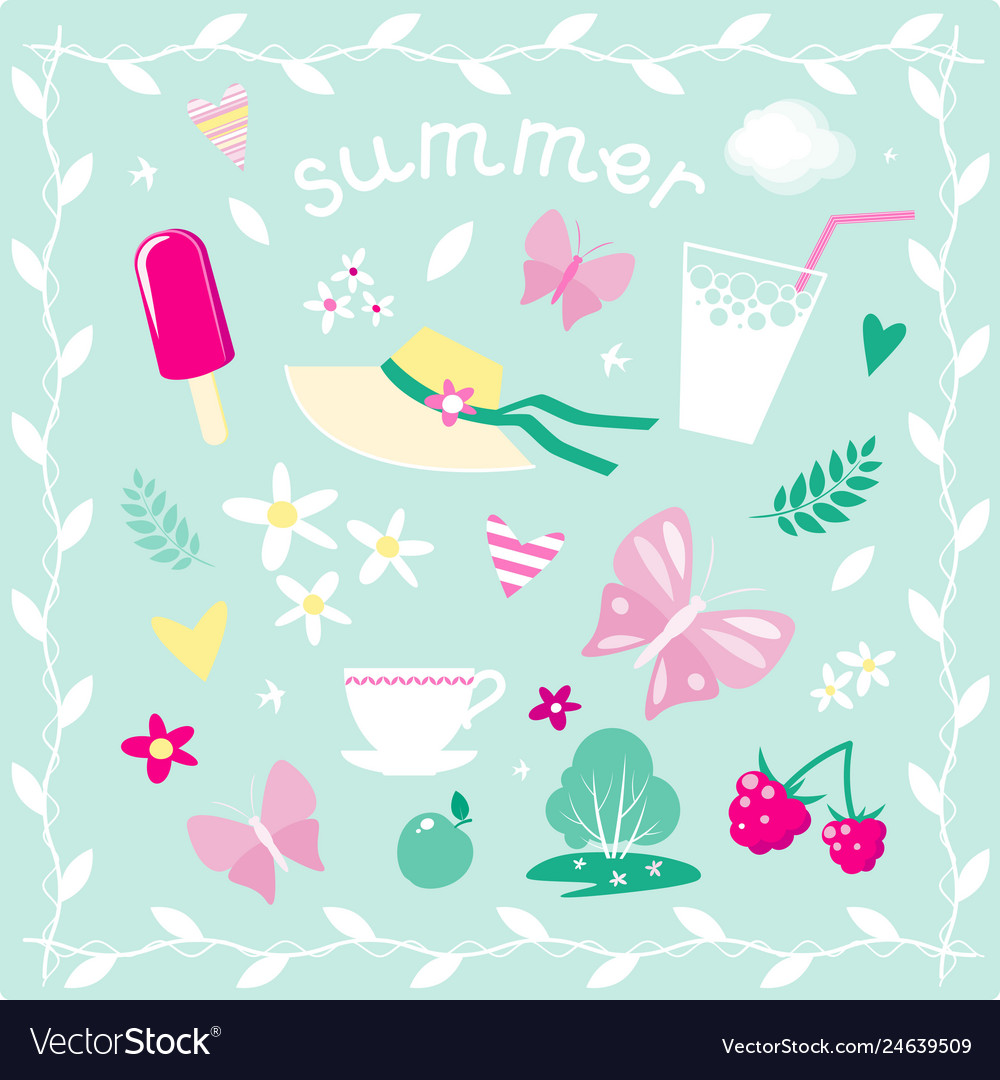 Set of elements on the theme of summer