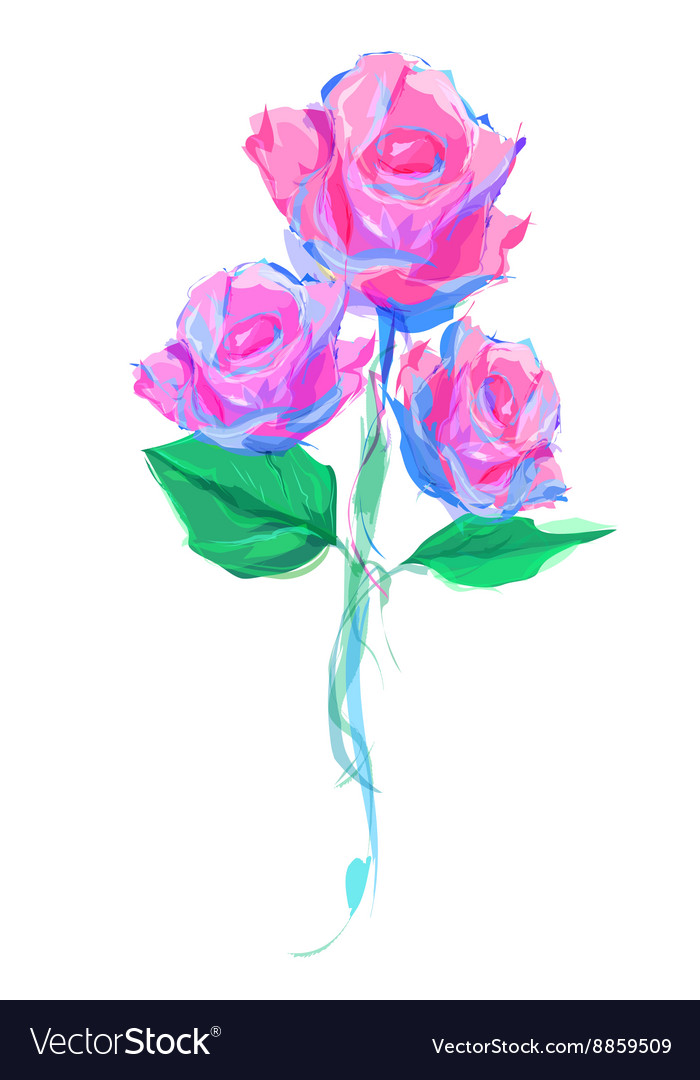 The cute Rose on white background