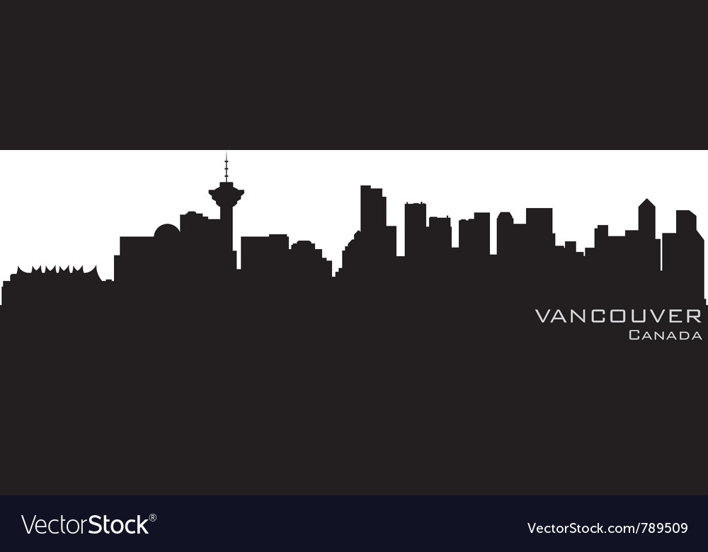 Vancouver canada skyline detailed silhouette vector