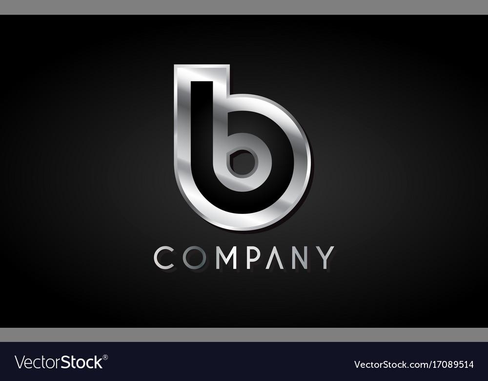 b silver metal alphabet letter icon design vector image