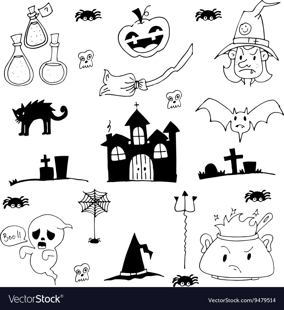 Castle cat ghost hat element of halloween doodle