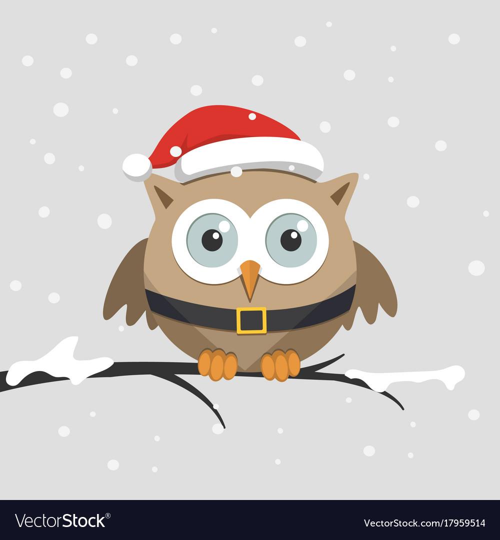 Christmas Owl.Christmas Male Owl With Santa Claus Hat