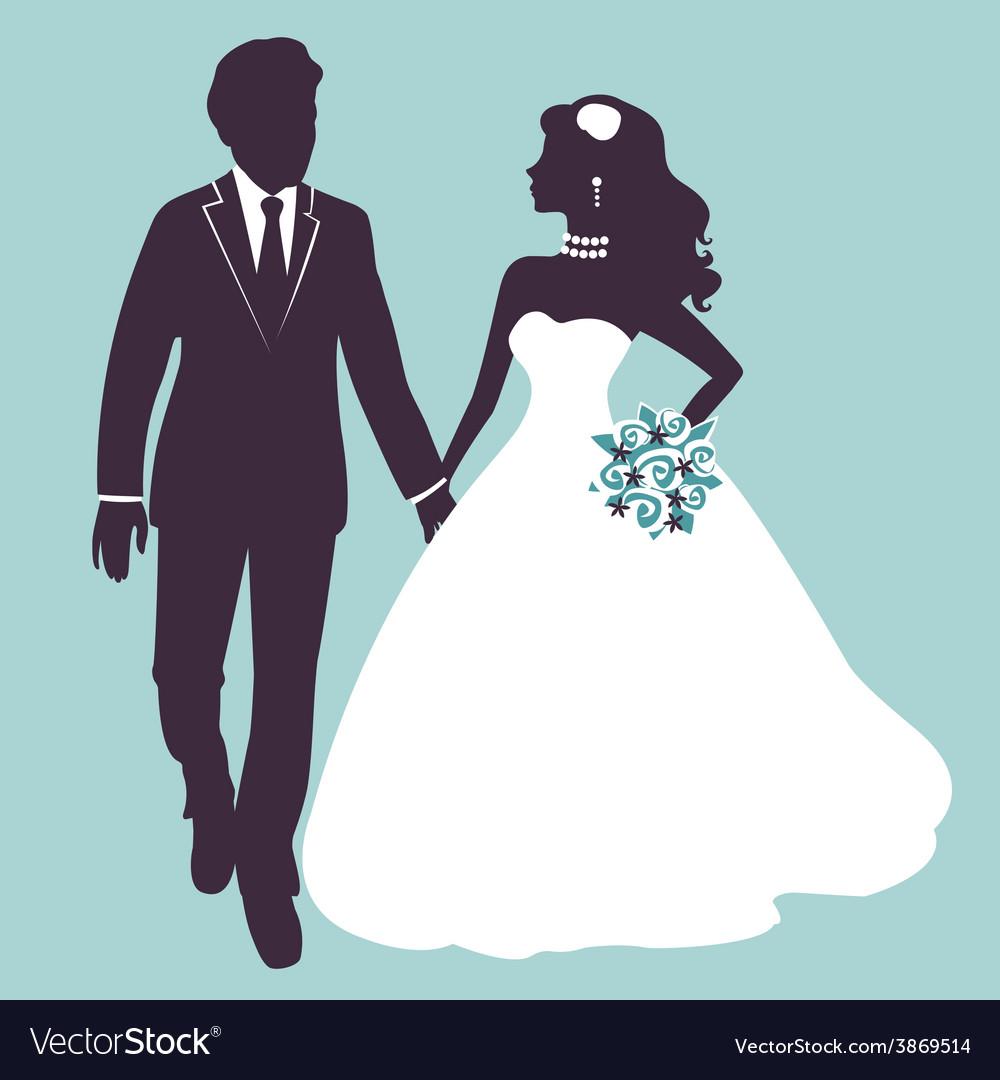 Elegant wedding couple in silhouette