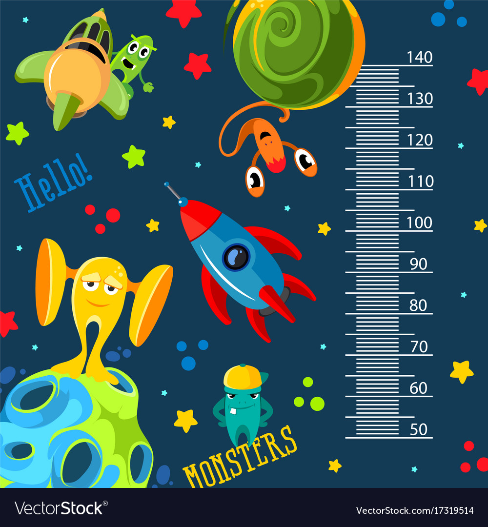 Funky monsters with a rockets and planets in space