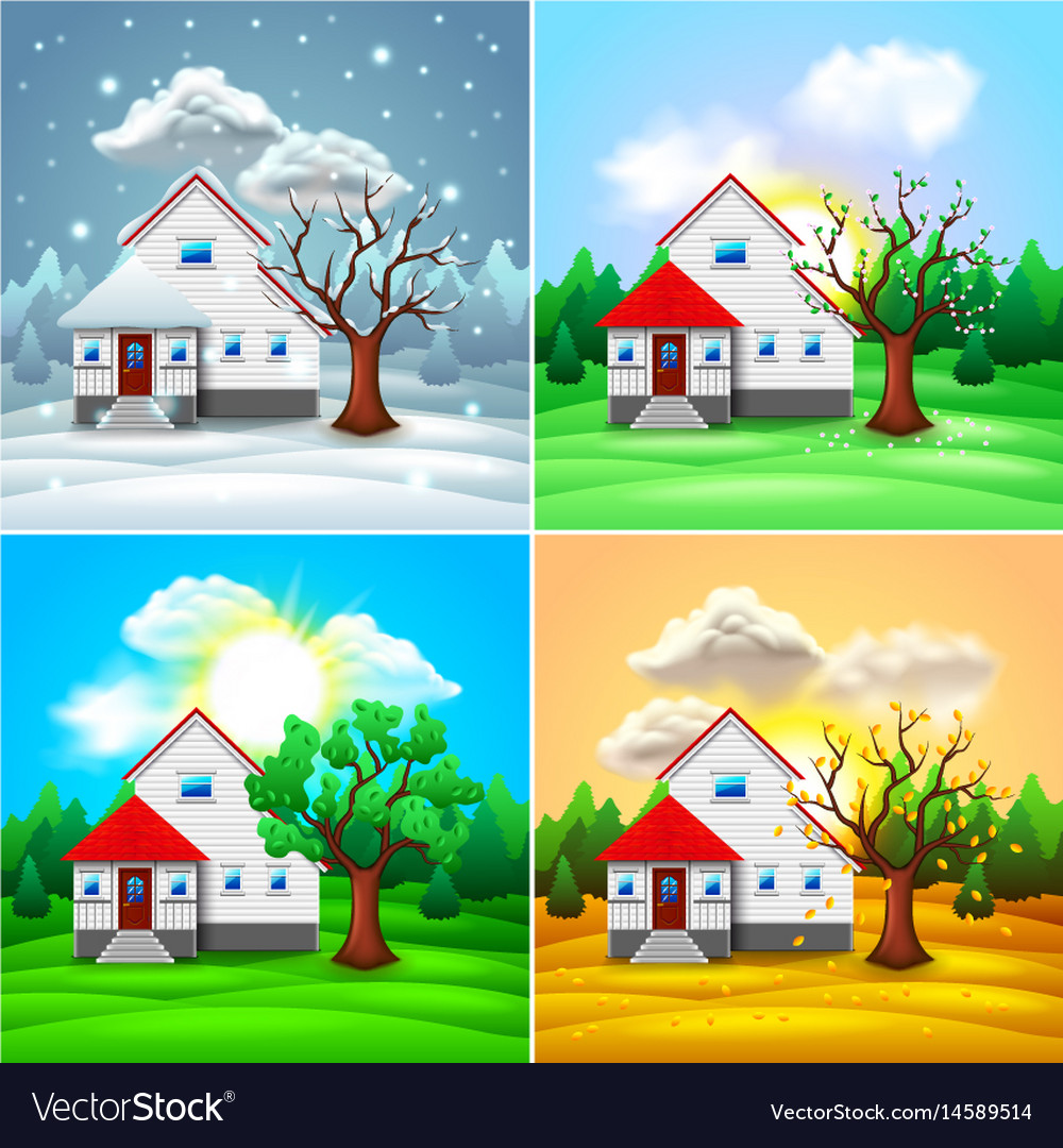 House and nature four seasons