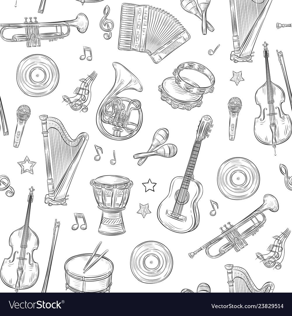Music seamless pattern musical instruments