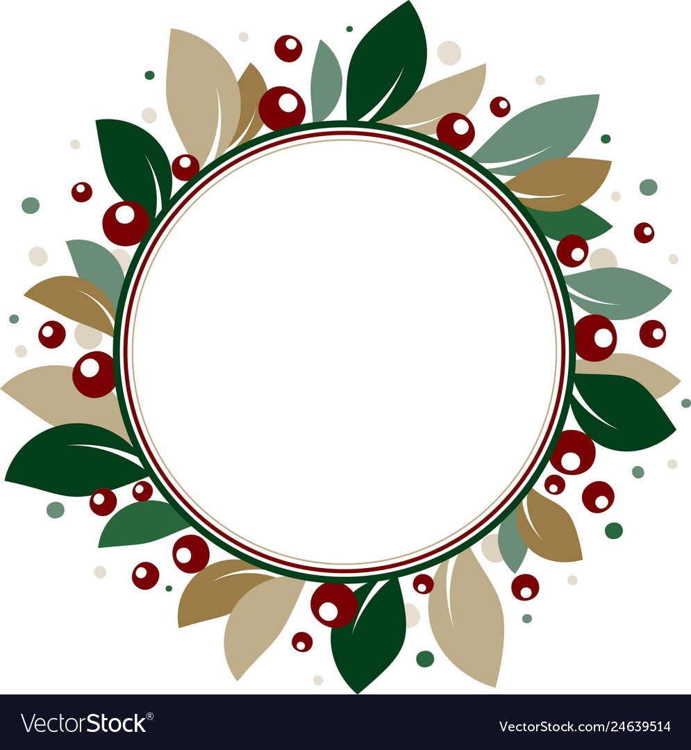 Round floral card with leaves and berries image