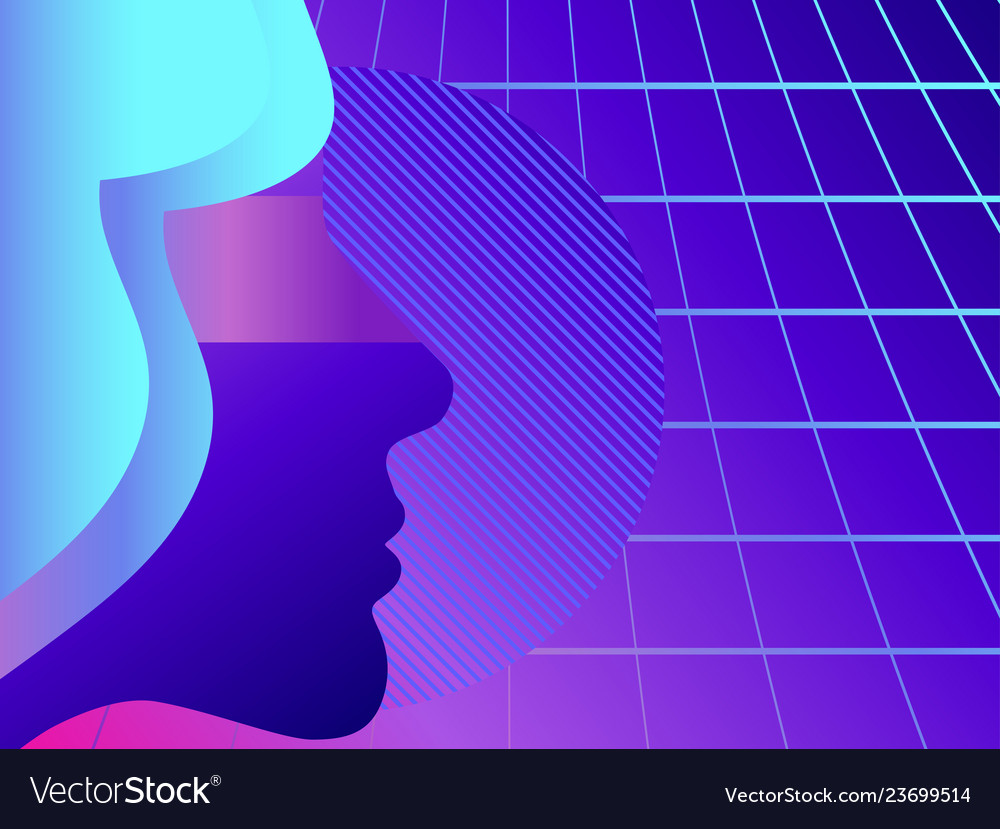 Silhouette of a womans face retro background 80s