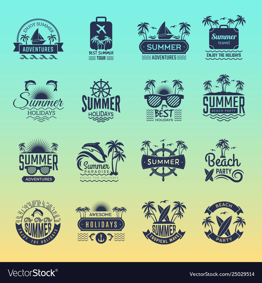 Summer travel logos retro tropical vacation