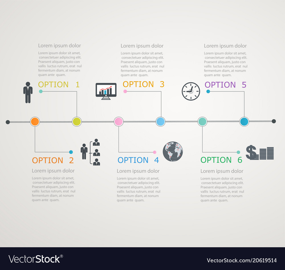 timeline infographics template royalty free vector image