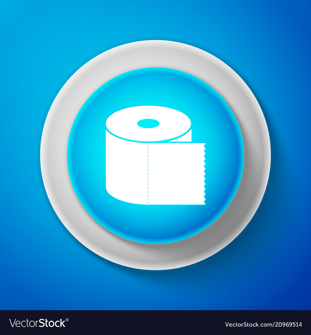 Toilet paper roll icon isolated on blue background