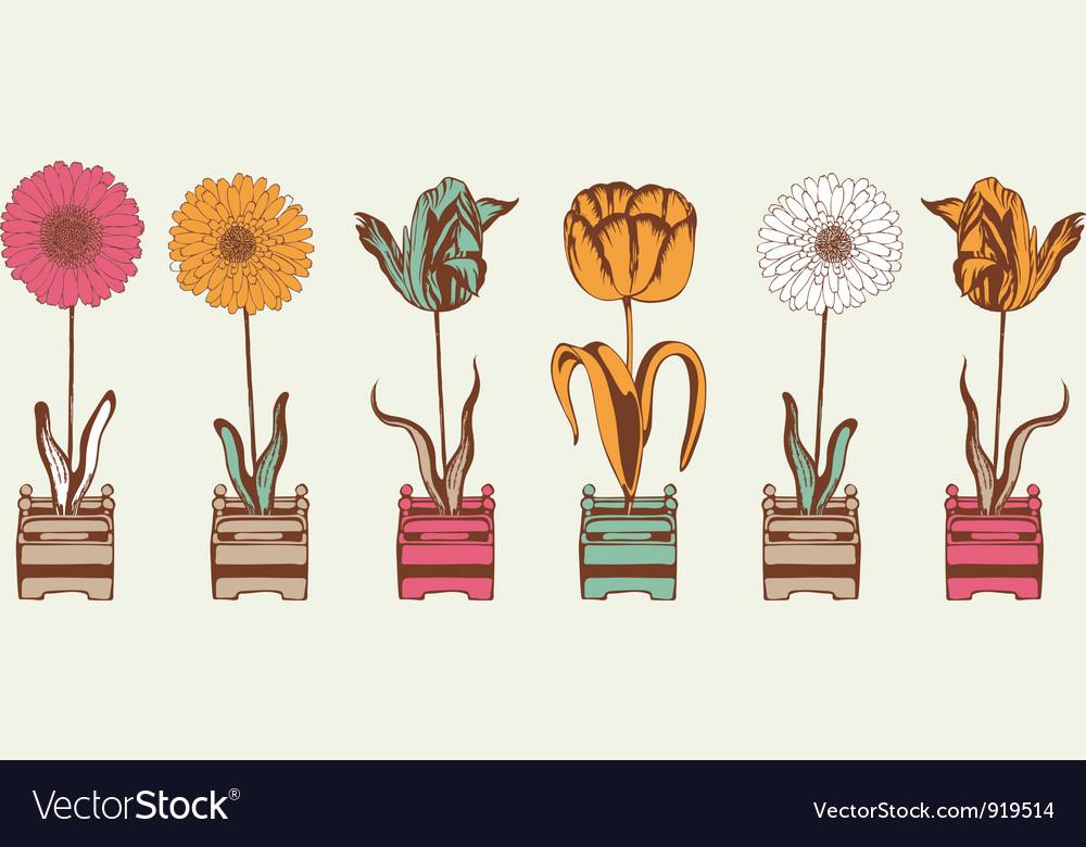 Vintage Summer Flowers Pattern vector image