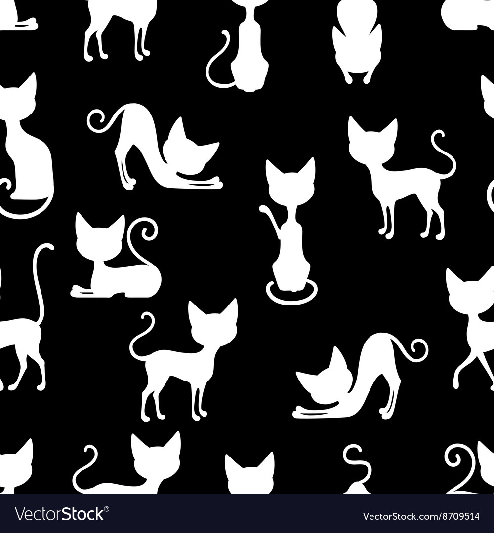White Cats Seamless Pattern