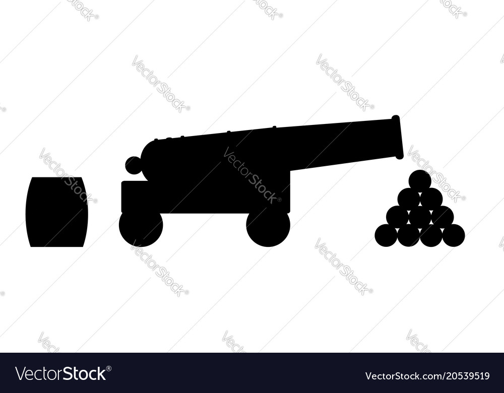 Cannon silhouette vector image