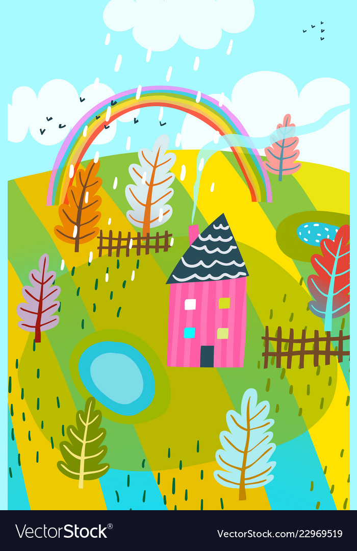Countryside summer house background kids drawing