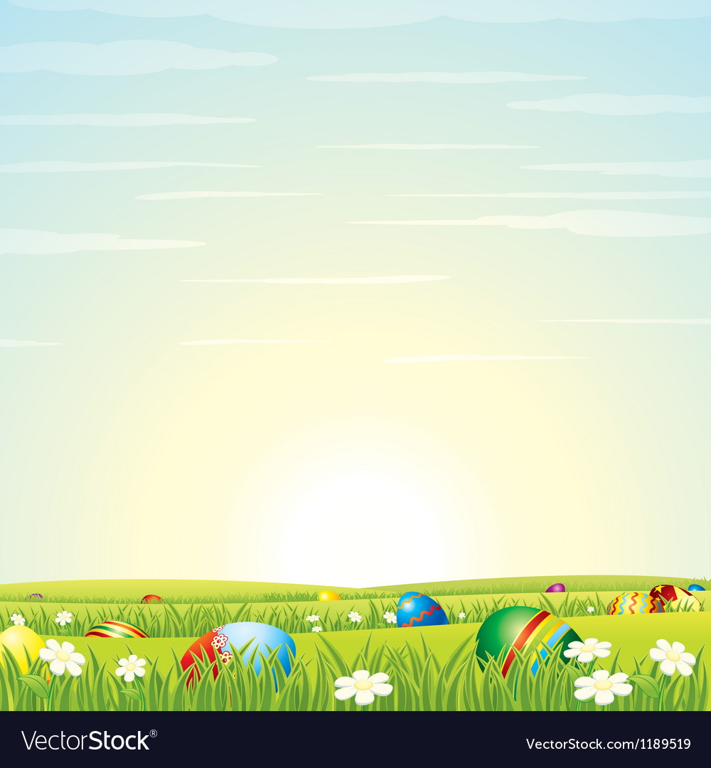 Easter Background Eggs in Green Grass