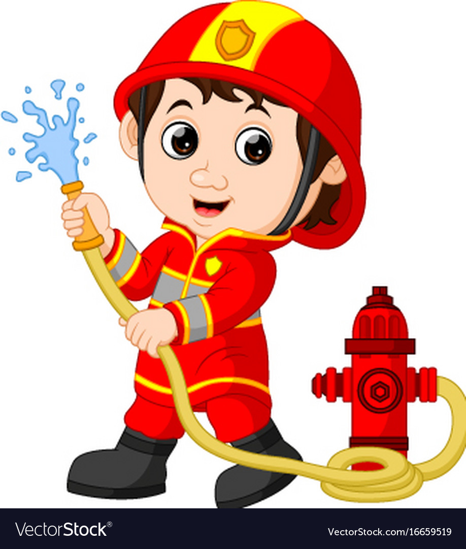 Firefighter cartoon royalty free vector image vectorstock - Dessin pompiers ...