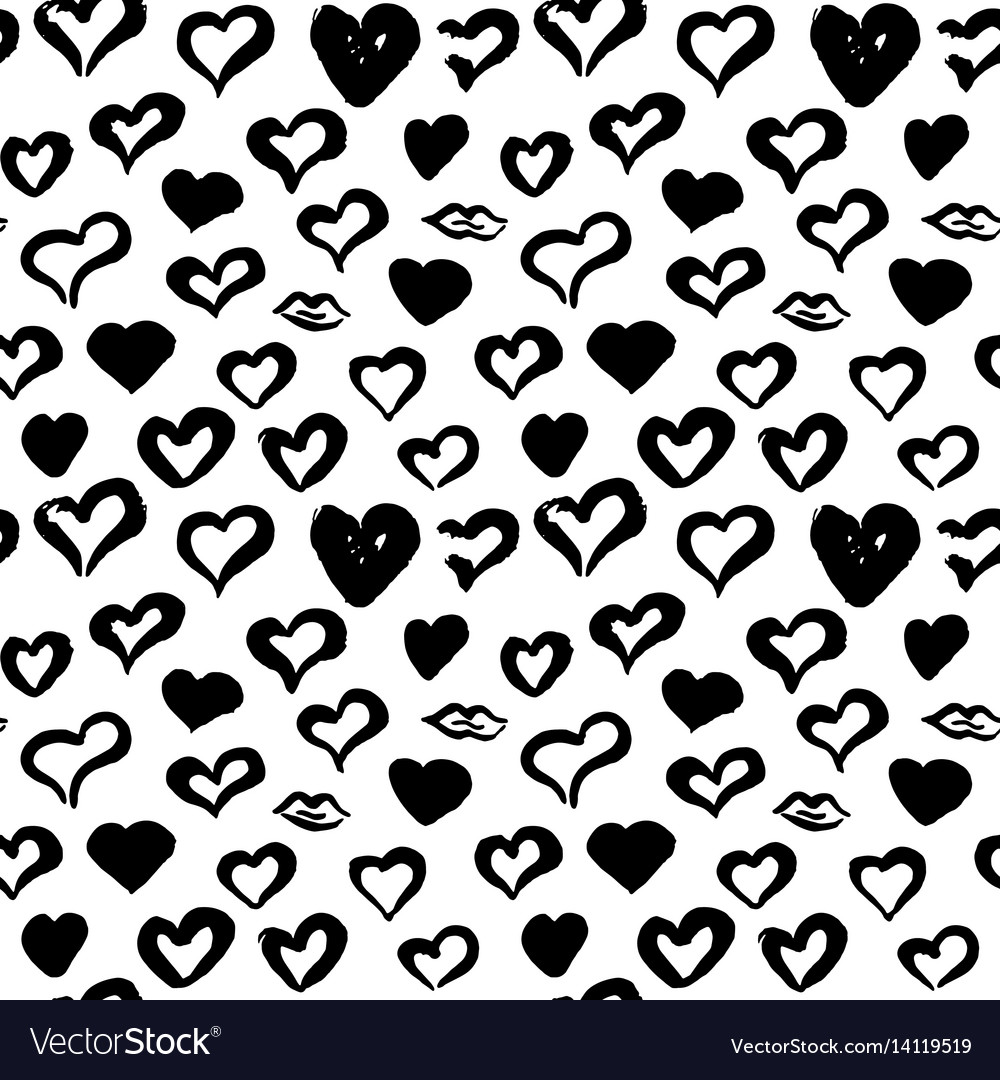 Hearts hand drawn seamless pattern