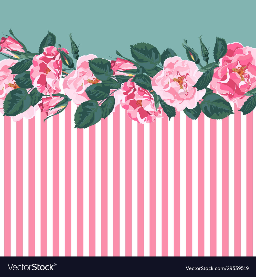 Horizontal striped pattern with rose peony
