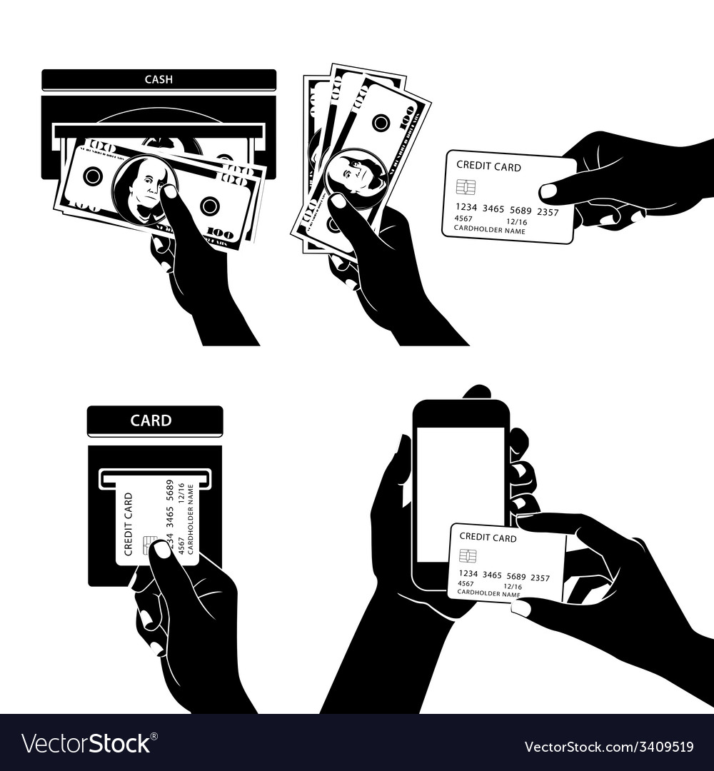 Icon set with Hands holding credit card smartphone