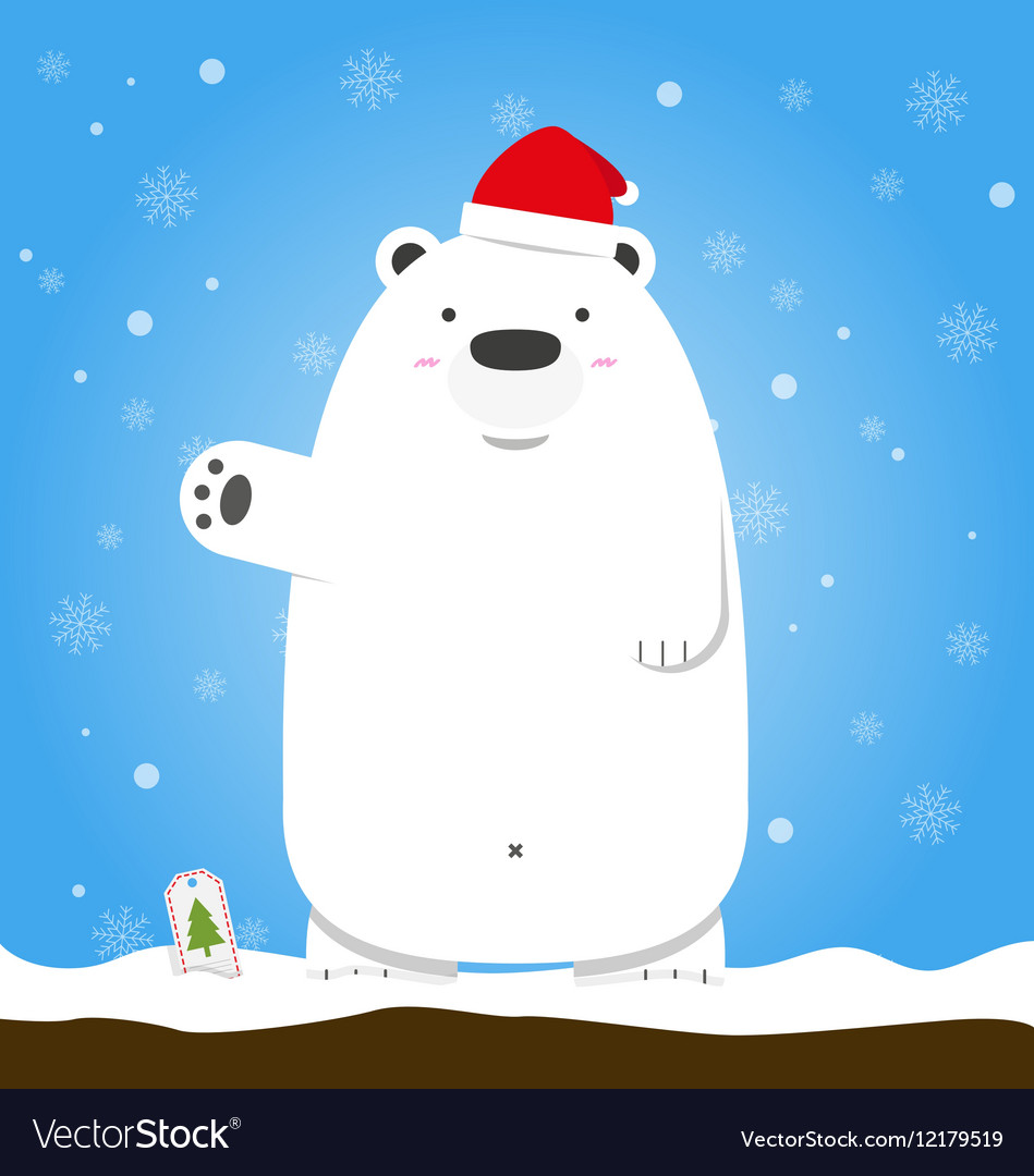 Merry Christmas white polar bear wear hat standing