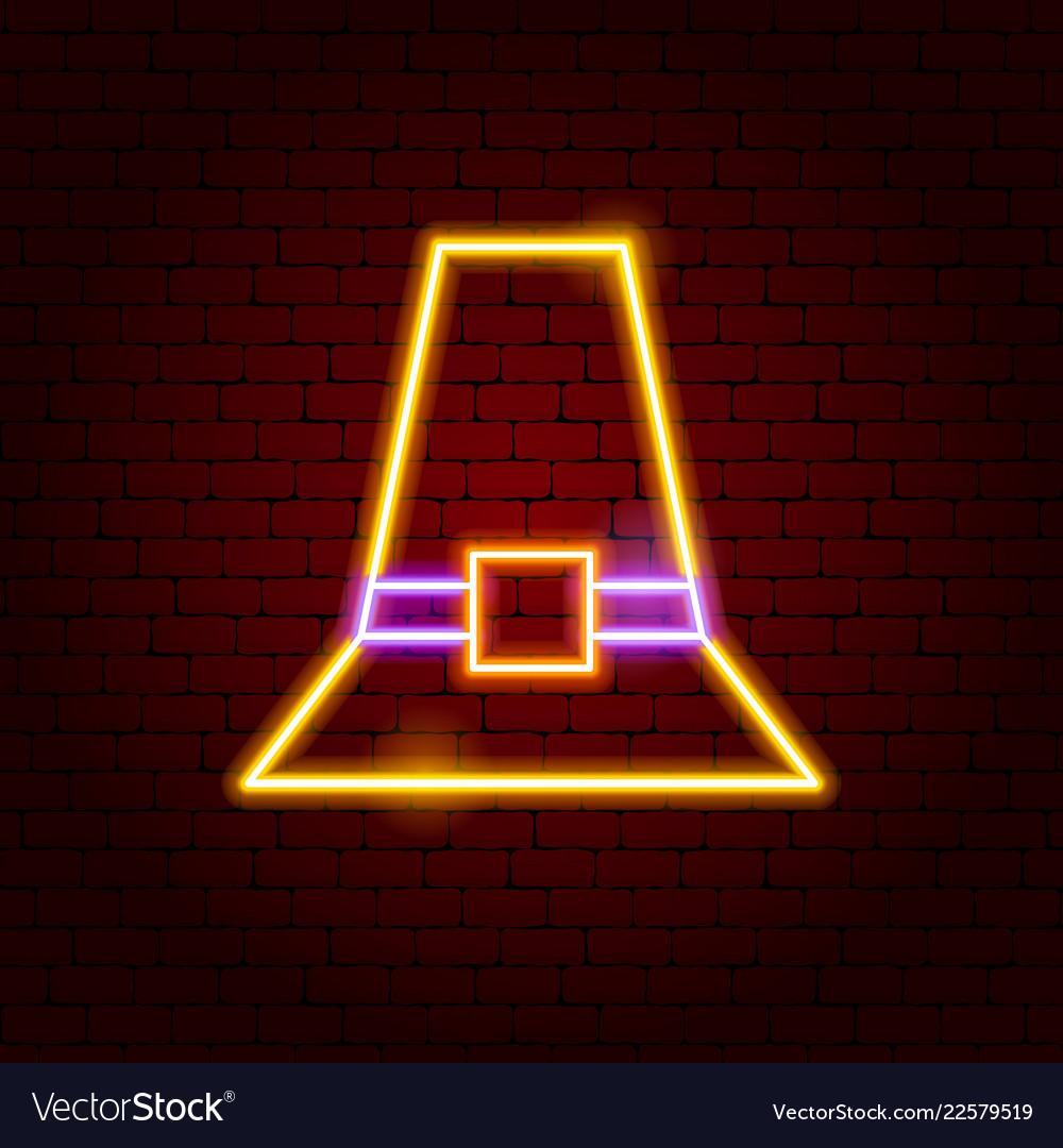 Pilgrim hat neon sign