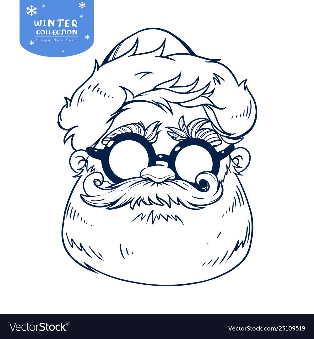 Santa claus face line cartoon character christmas