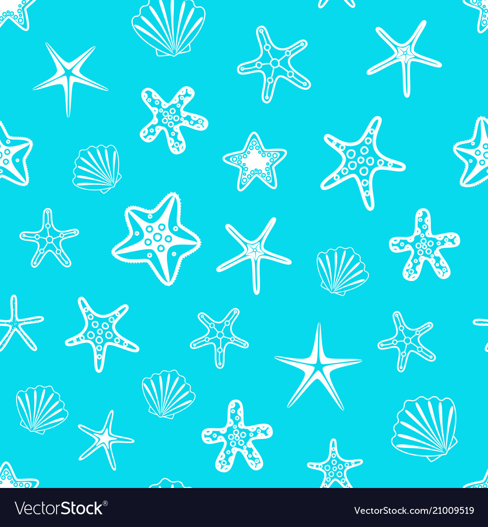 Seamless pattern with seashells and starfishes on