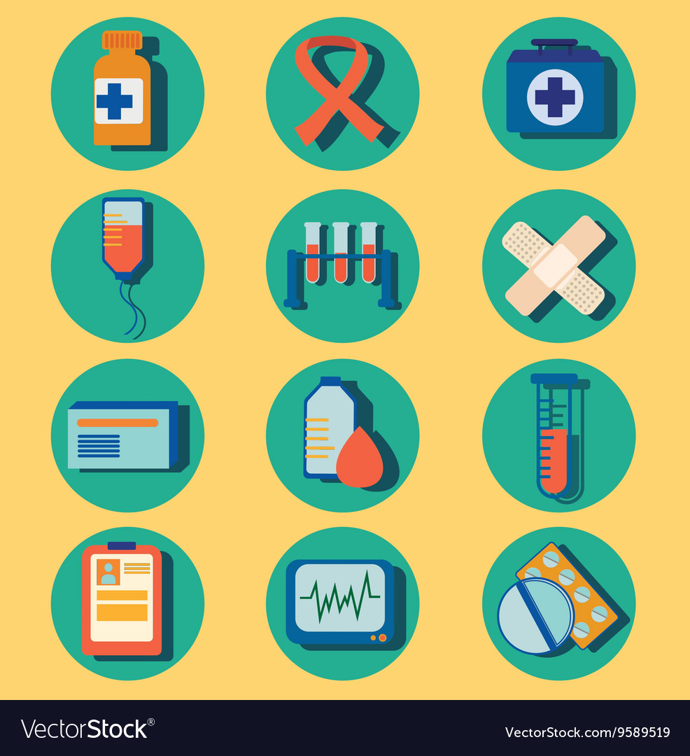 Set of medical icons flat design colorful
