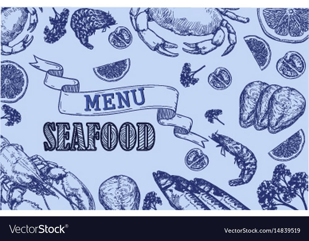 Vintage seafood restaurant flyer