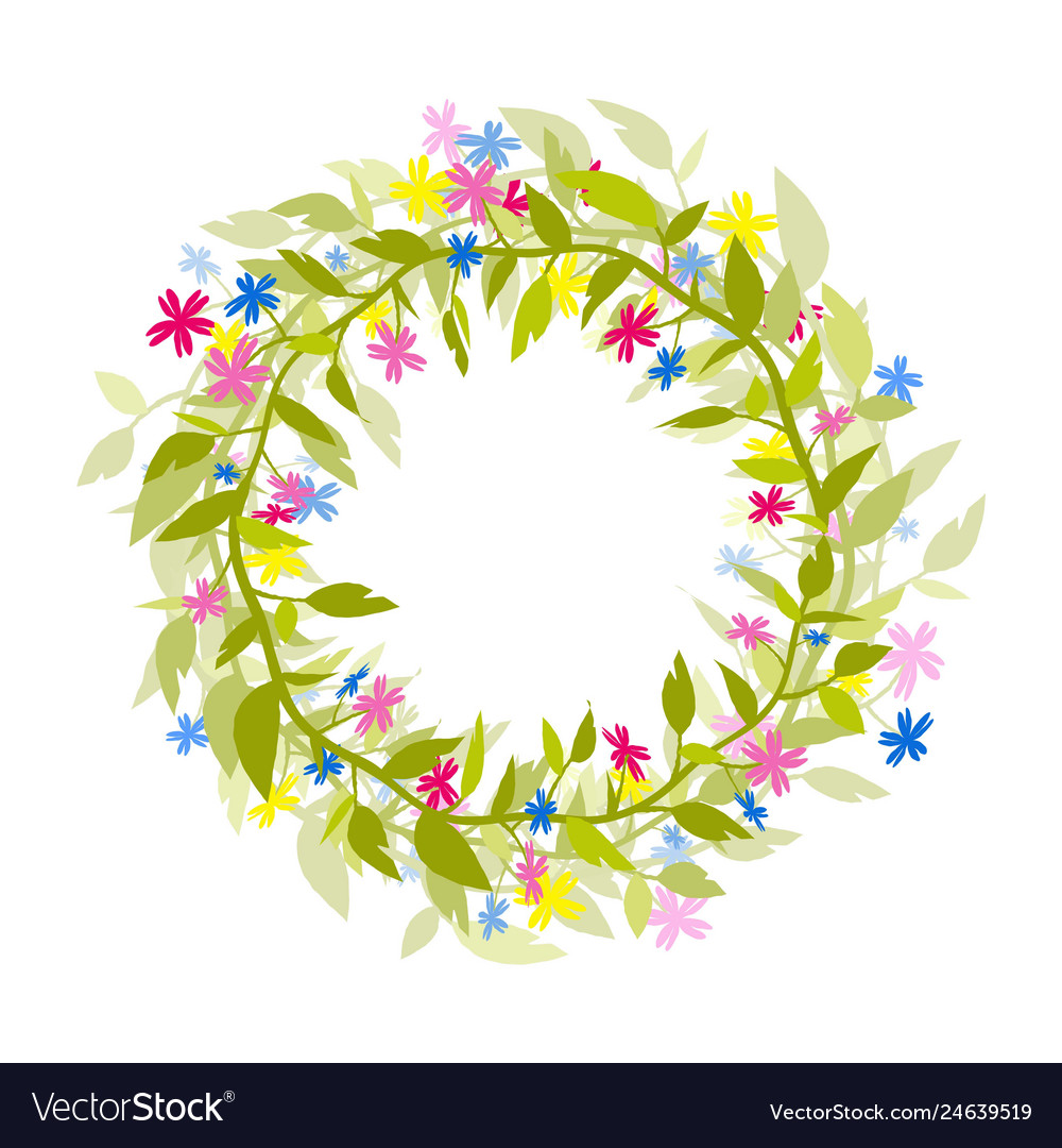Wreath of flowers and herbs isolated image