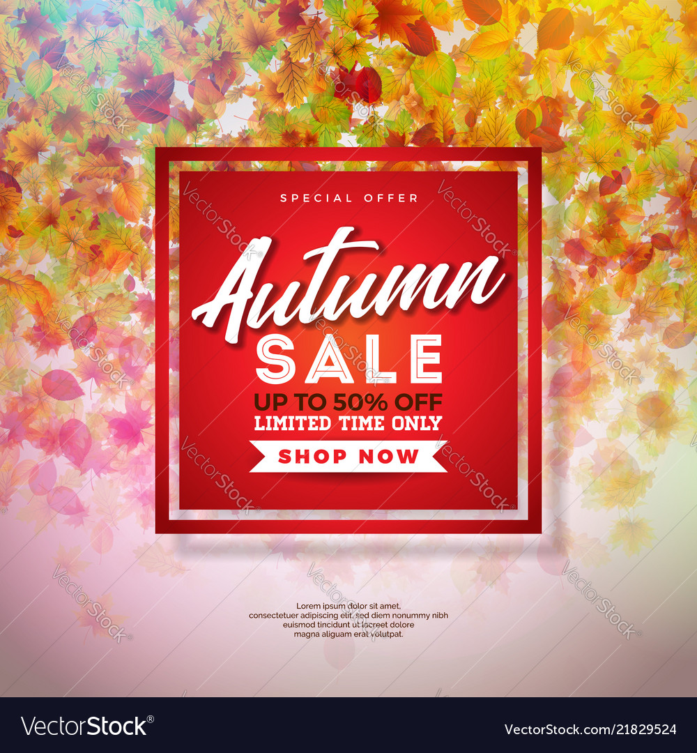 Autumn sale design with colorful falling leaves