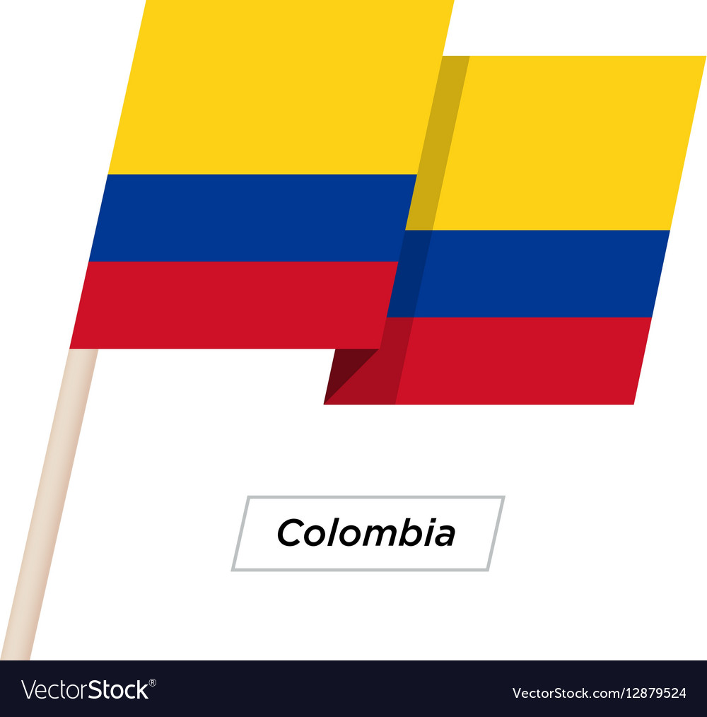 Colombia Ribbon Waving Flag Isolated on White