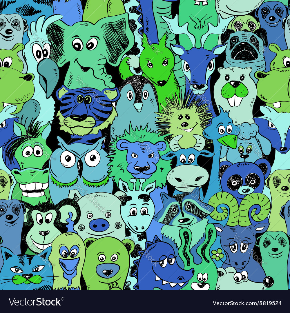 Colorful Bright Seamless Pattern With Animals