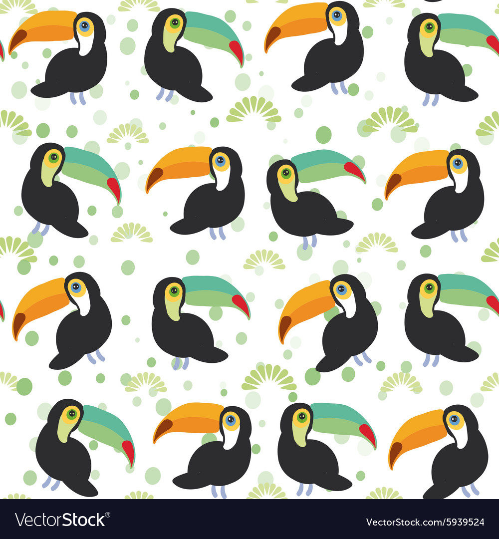 Cute Cartoon toucan birds set on white background